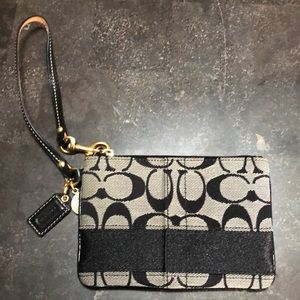 Small Black and Gray Coach Wristlet